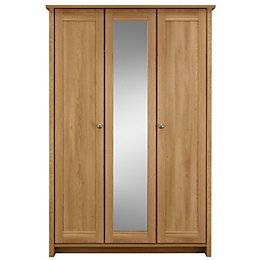 Manor Oak effect 3 door Mirror wardrobe (H)1932mm