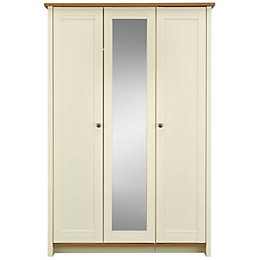 Manor Vanilla Oak effect 3 door Mirror wardrobe