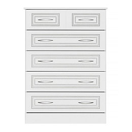 Laysan White 5 Drawer Chest (H)1140mm (W)830mm (D)450mm