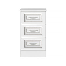 Laysan White 3 Drawer Chest (H)740mm (W)430mm (D)450mm
