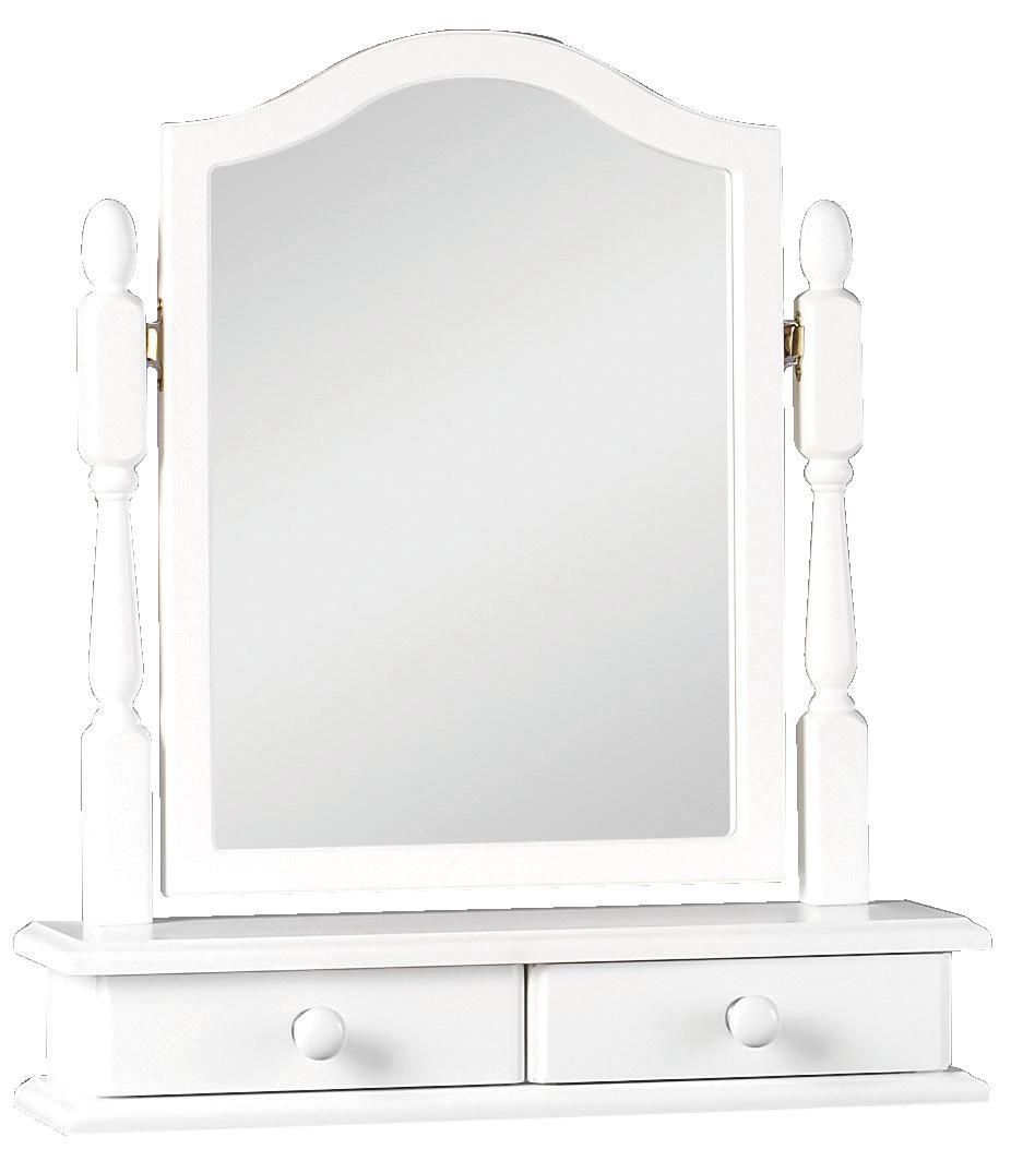 Rocco White Dressing Table Mirror With Drawers H 640mm W 550mm