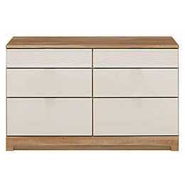 Noah Mussel & Oak Effect 6 Drawer Chest