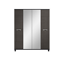 Juno Black & graphite 4 door Mirror wardrobe