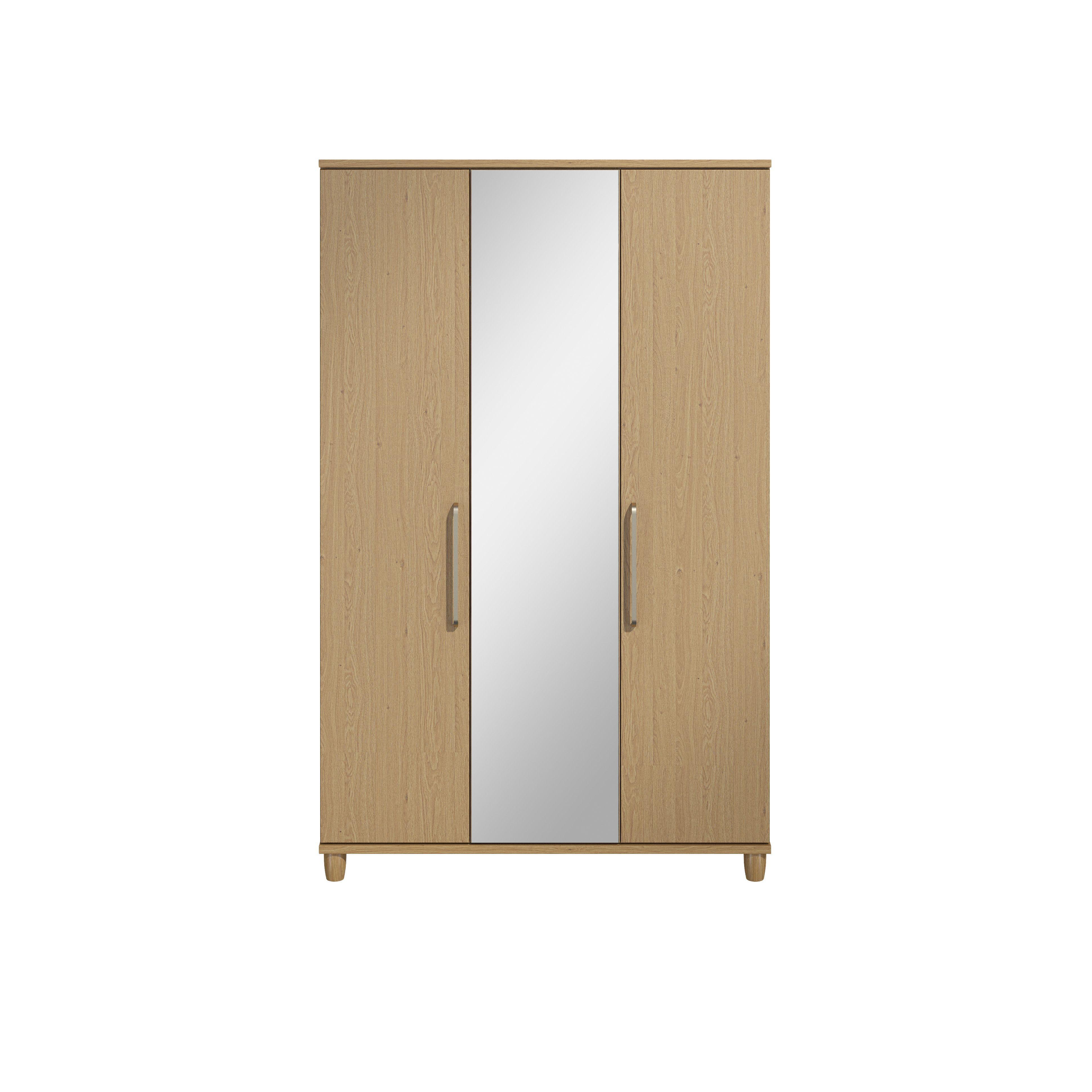 Pandora Oak Effect 3 Door Mirror Wardrobe H 1930mm W
