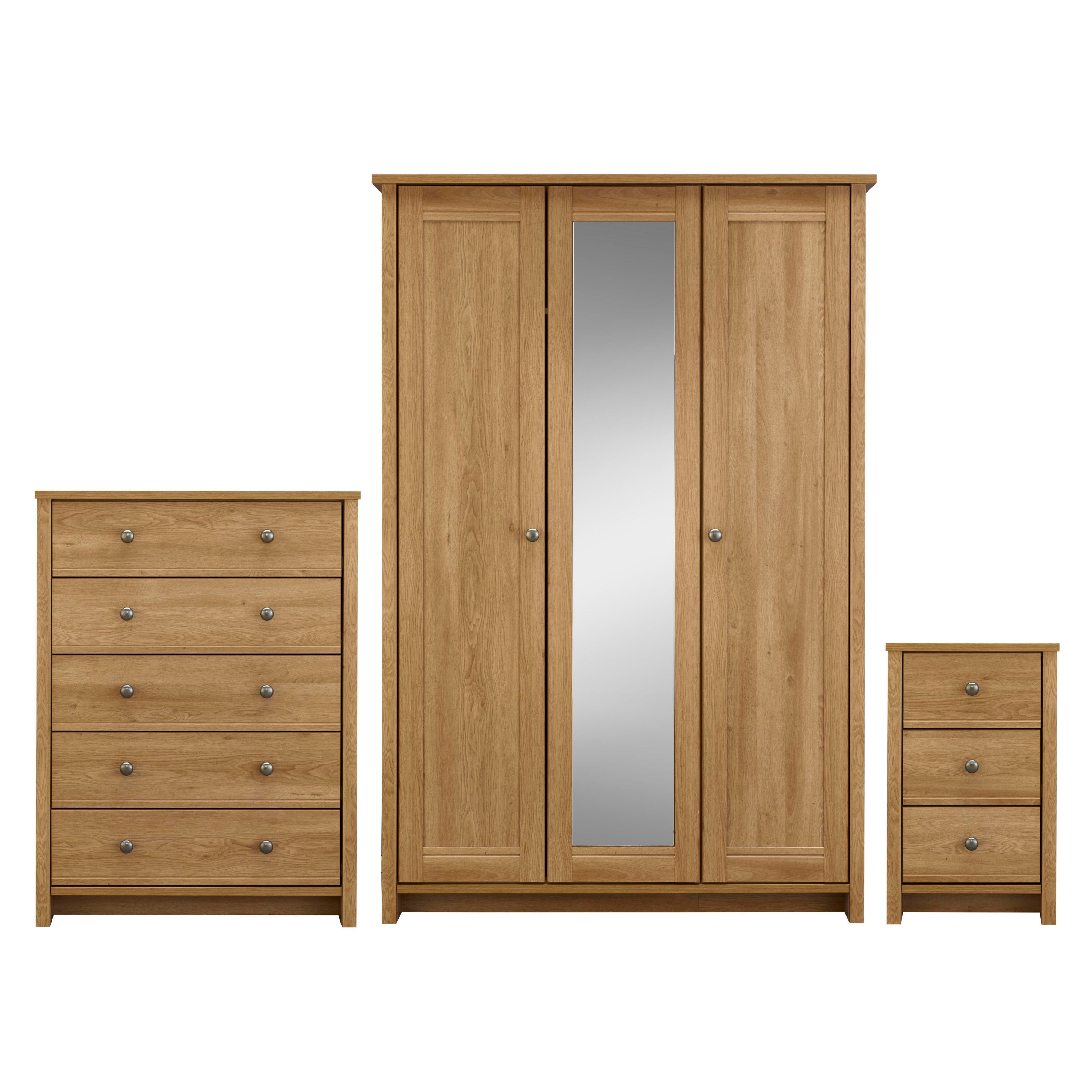 Manor pre assembled 3 piece bedroom furniture set for Assembled bedroom furniture