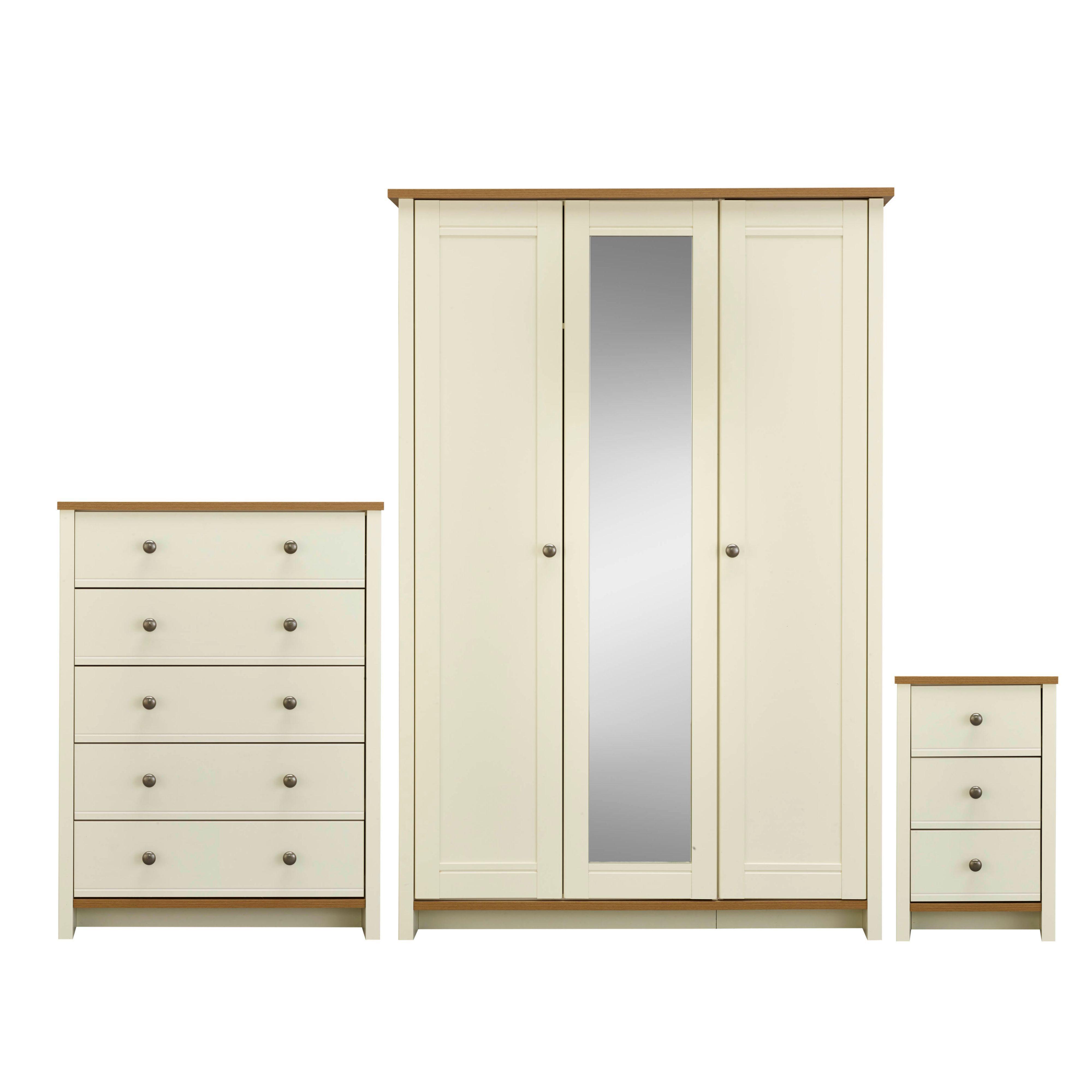 Manor vanilla oak effect 3 piece bedroom furniture set for Bedroom furniture sets b q