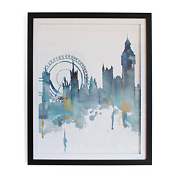 London Blue Framed Art (W)440mm (H)540mm