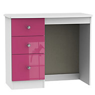 Rosa Pink & white High gloss Dressing table (H)800mm (W)930mm (D)410mm