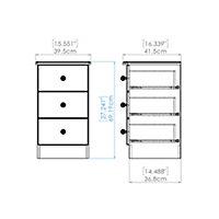 Noire Black High gloss 3 Drawer Bedside chest (H)700mm (W)400mm (D)410mm