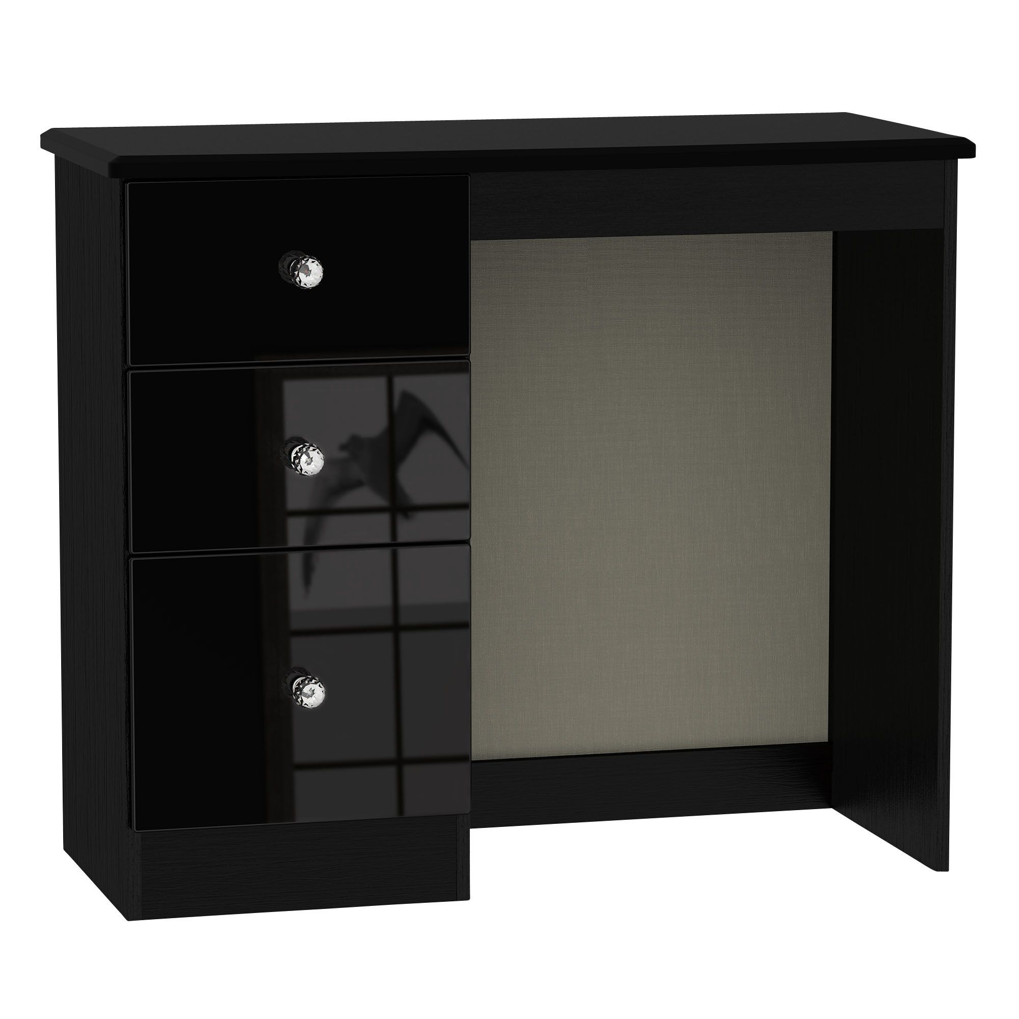 Ordinaire Noire Black High Gloss Dressing Table (H)800mm (W)930mm (D)410mm |  Departments | DIY At Bu0026Q
