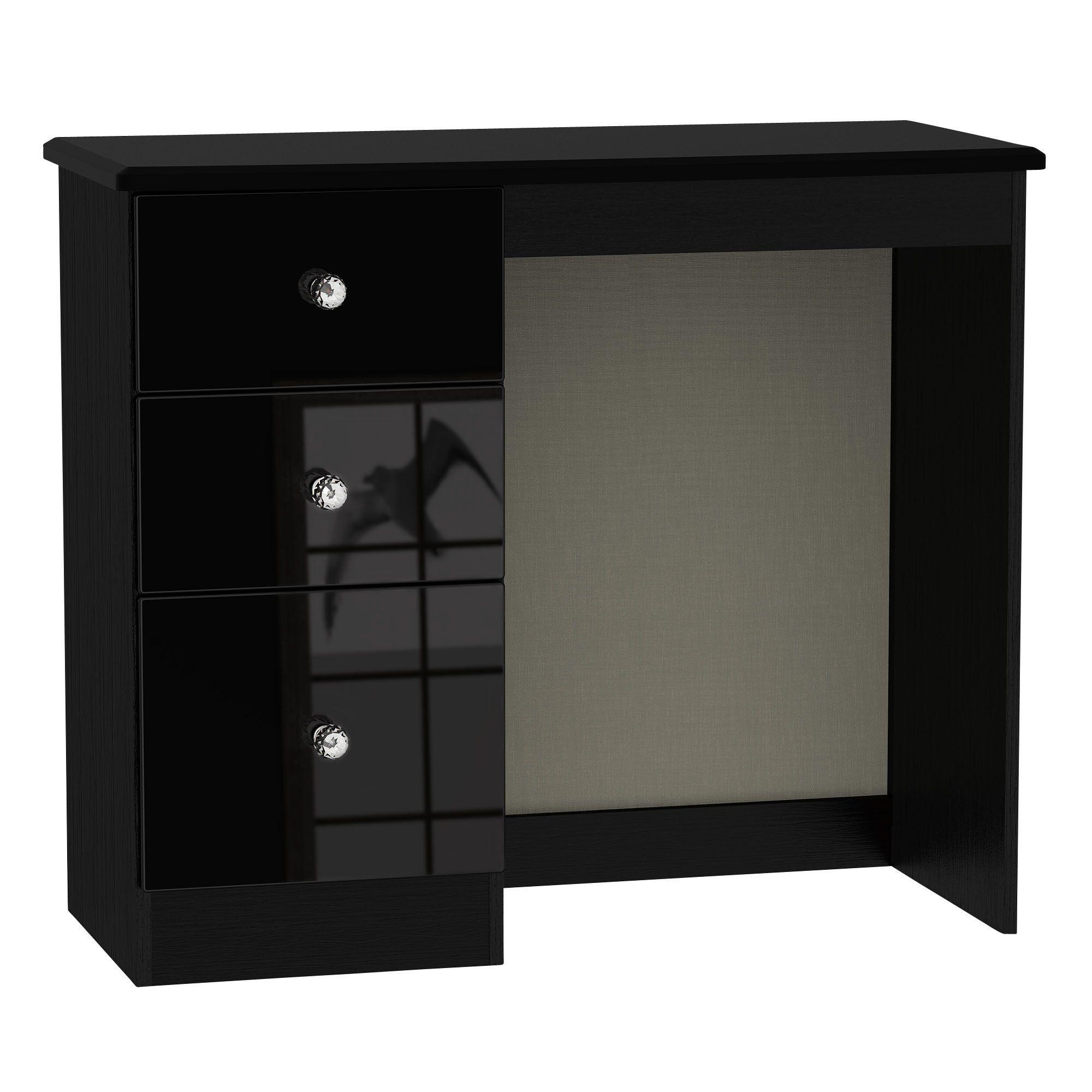 Ordinaire Noire Black High Gloss Dressing Table (H)800mm (W)930mm (D)410mm |  Departments | DIY At Bu0026Q