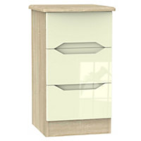 Monte carlo Cream Oak effect 3 Drawer Bedside chest (H)700mm (W)400mm (D)410mm