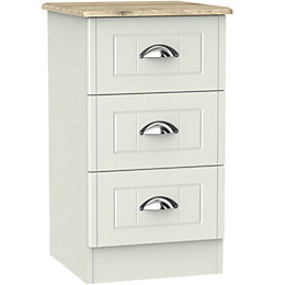 Como Grey Oak effect 3 Drawer Bedside chest