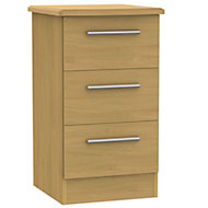 Montana Oak effect 3 Drawer Bedside chest (H)700mm (W)400mm (D)410mm
