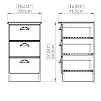 Lugano Grey Matt 3 Drawer Bedside chest (H)700mm (W)400mm (D)410mm