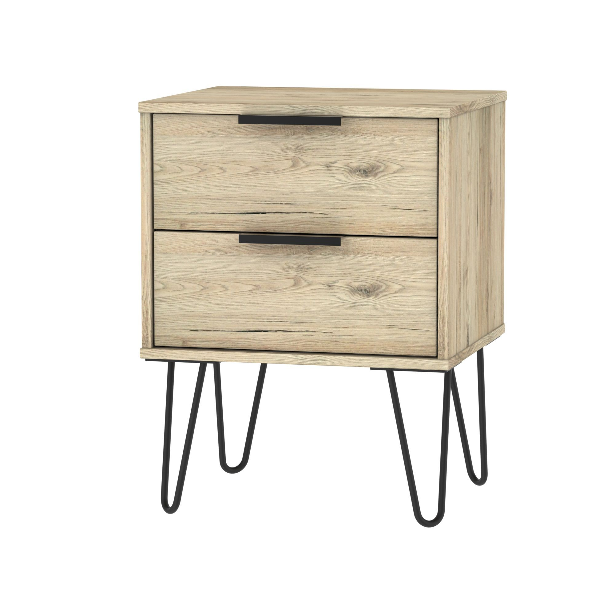 Manhattan Oak Effect 2 Drawer Bedside Chest H 570mm W 450mm D 395mm Departments Diy At B Q