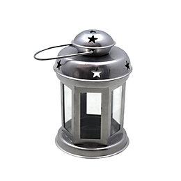 Silver effect Glass & iron Lantern, Small