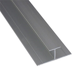 Splashwall Grey Shower panelling straight H joint (L)2420mm
