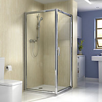Splashwall Natural turin marble effect 3 sided shower panelling kit (L)2420mm (W)1200mm (T)11mm