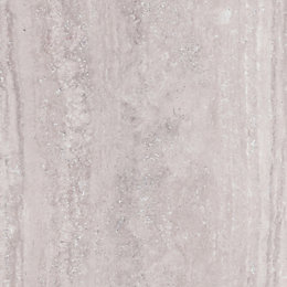 Splashwall Beige Stone Single Shower Panel (L)2.42m (W)1.2m