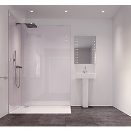 Splashwall White Single Shower Panel (L)2420mm (W)585mm (T)11mm