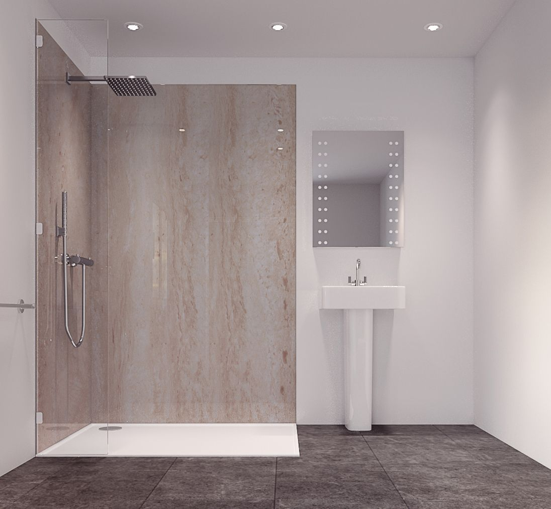 Splashwall Natural Turin Marble Effect Single Shower Panel