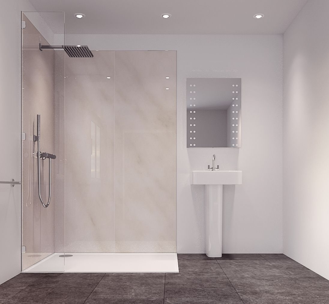 Splashwall Cararra Marble Effect Single Shower Panel (L)2420mm