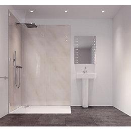 Splashwall Cararra Marble Effect Single Shower Panel (L)2420mm