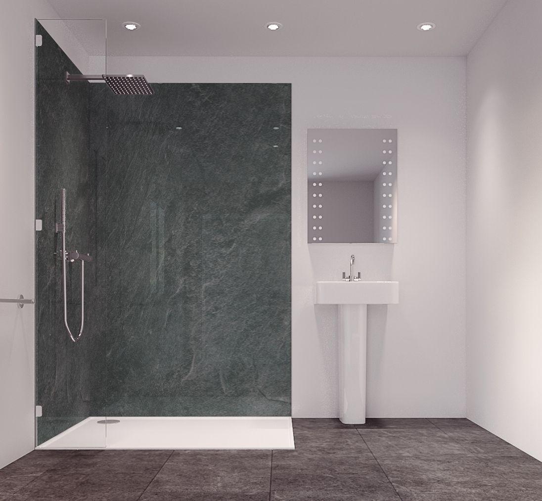 Splashwall Charcoal Single Shower Panel (L)2420mm (W)585mm