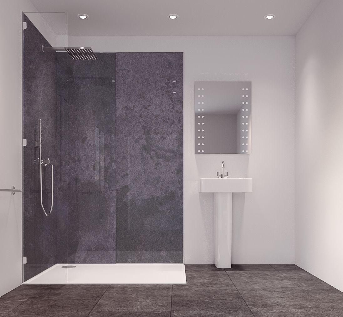 Splashwall Graphite Diffusion Single Shower Panel (L)2420mm