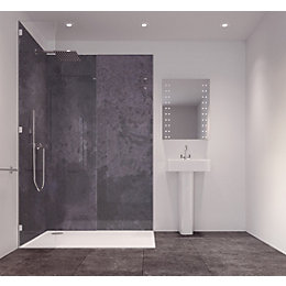 Splashwall Graphite Diffusion Single Shower Panel (L)2420mm