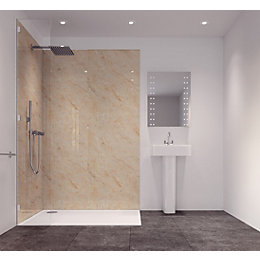 Splashwall Tuscan Cream Single Shower Panel (L)2420mm (W)585mm
