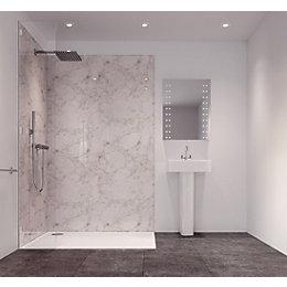 Splashwall Tuscan White Single Shower Panel (L)2420mm (W)585mm