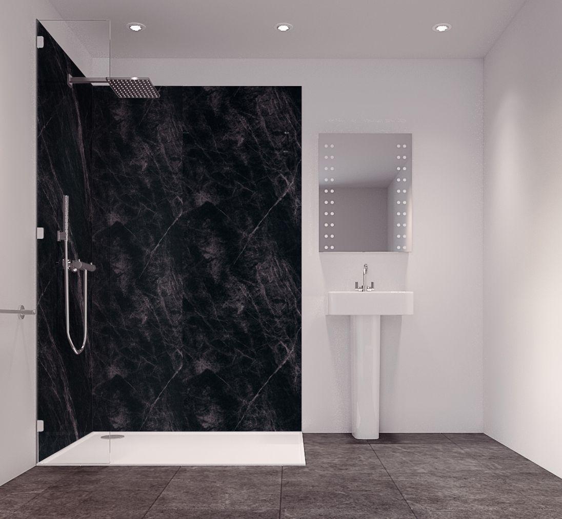 Splashwall Tuscan Black Single Shower Panel (L)2420mm (W)585mm