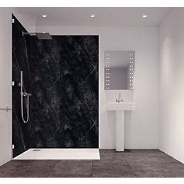 Splashwall Tuscan Black Single Shower Panel (L)2420mm (W)585mm