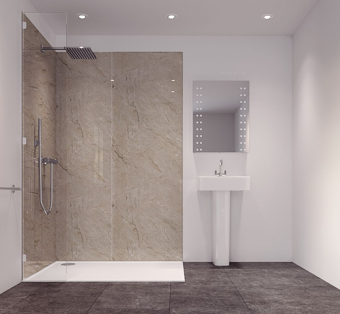 Splashwall Tuscan Natural Single Shower Panel L 2420mm W