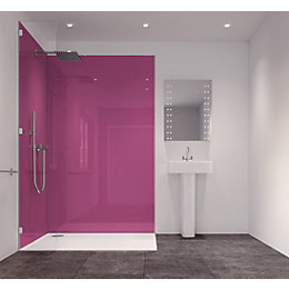 Splashwall Pink Single Shower Panel (L)2420mm (W)585mm (T)11mm