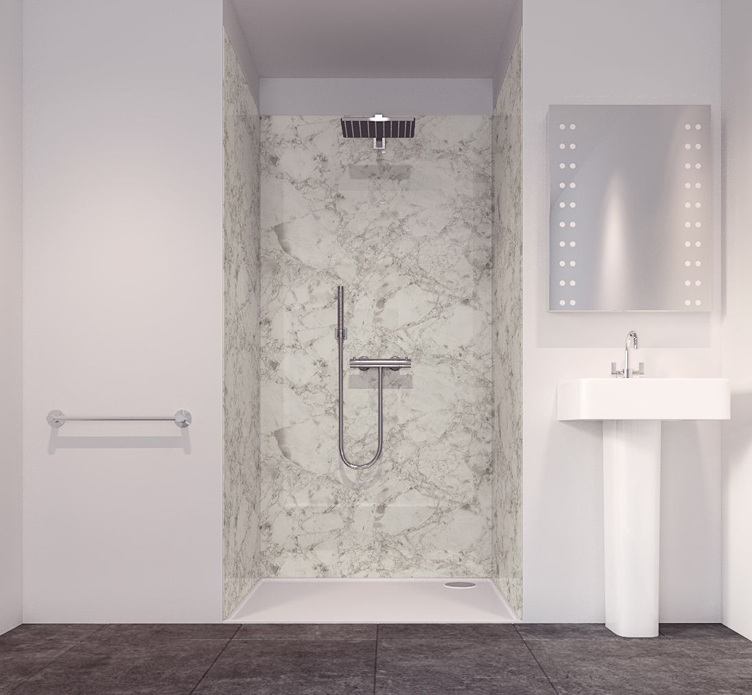 Splashwall Tuscan White 3 Sided Shower Panelling Kit