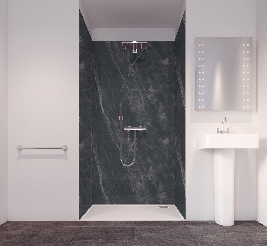 Splashwall Tuscan Black 3 Sided Shower Panelling Kit