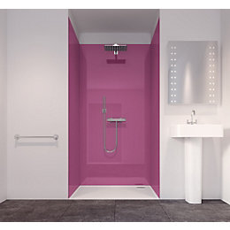 Splashwall Pink 3 Sided Shower Panelling Kit (L)2420mm
