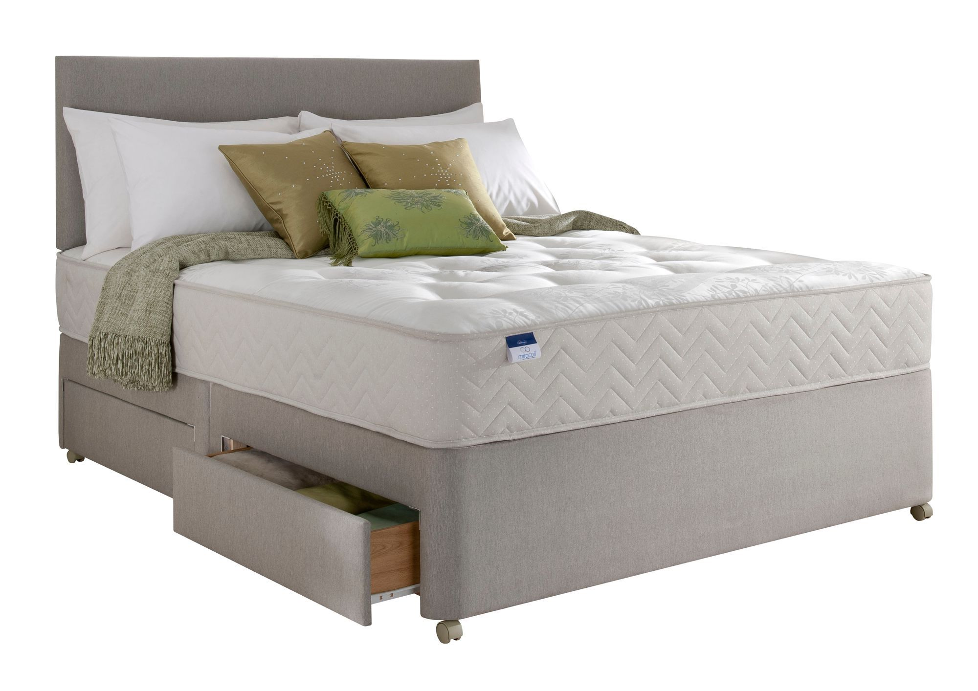 Silentnight Miracoil Tufted Ortho King Size 2 Drawer