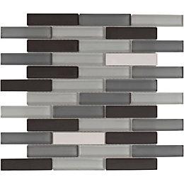 Grey Linear Interlocking Glass & Stone Mosaic Tile