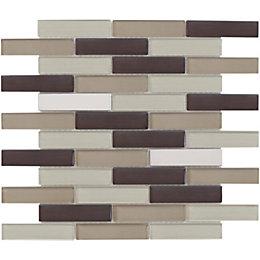 Brown Linear Interlocking Glass & Stone Mosaic Tile