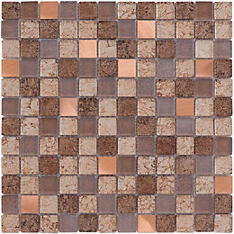 Tramonti Brown Square Glass & Stone Mosaic Tile