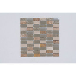 Beige Linear Glass & Stone Mosaic Tile Sheet,