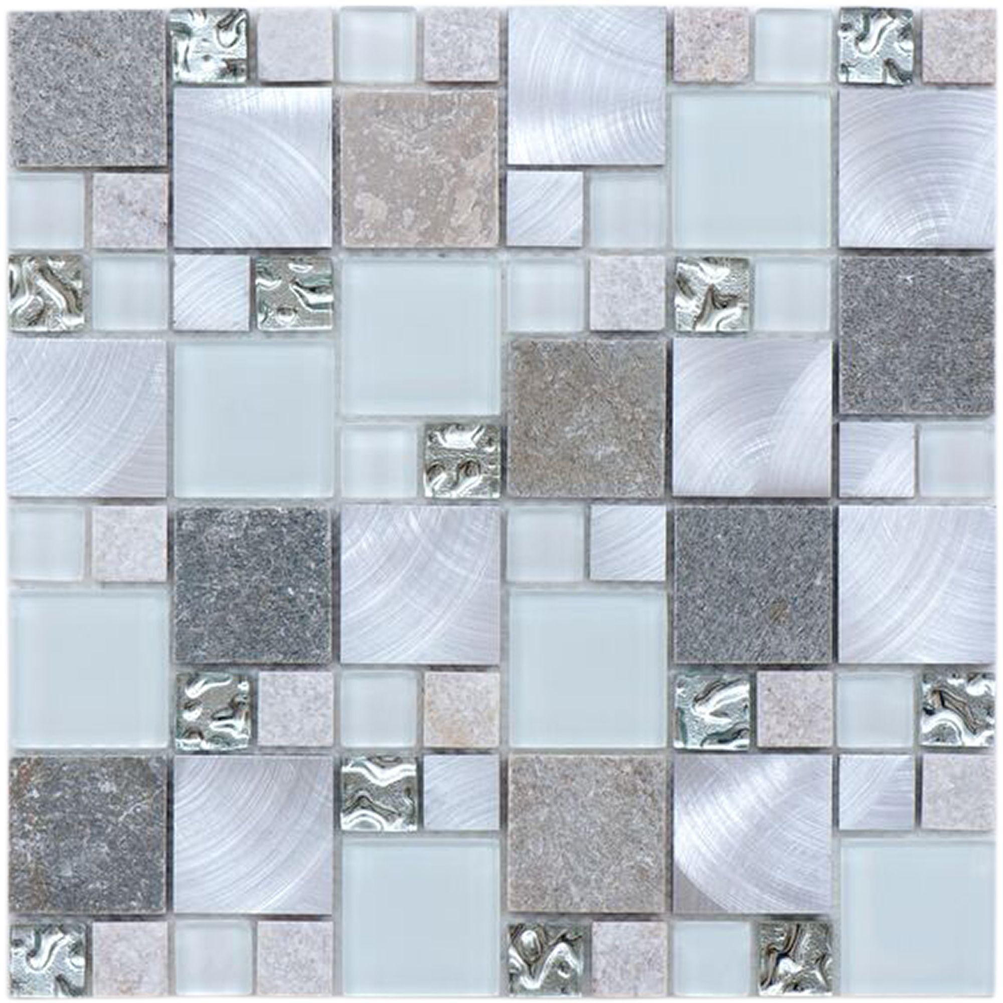 Bedrock Grey Linear Glass & Stone Mosaic Tile Sheet, (L)300mm (W ...
