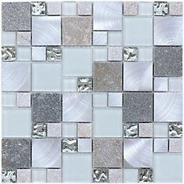 Bedrock Grey Linear Glass & Stone Mosaic Tile