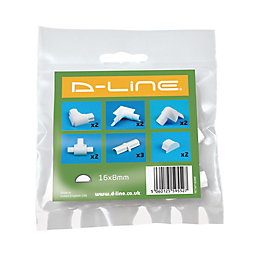 D-Line ABS Plastic White Value Pack (W)16mm, Pack