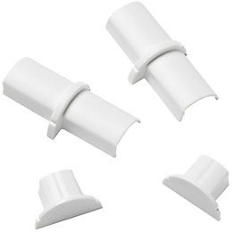 D-Line Plastic White Micro Trunking Coupler & End
