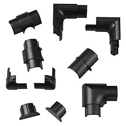 D-Line ABS Plastic Black Trunking Accessories (W)30mm Pieces